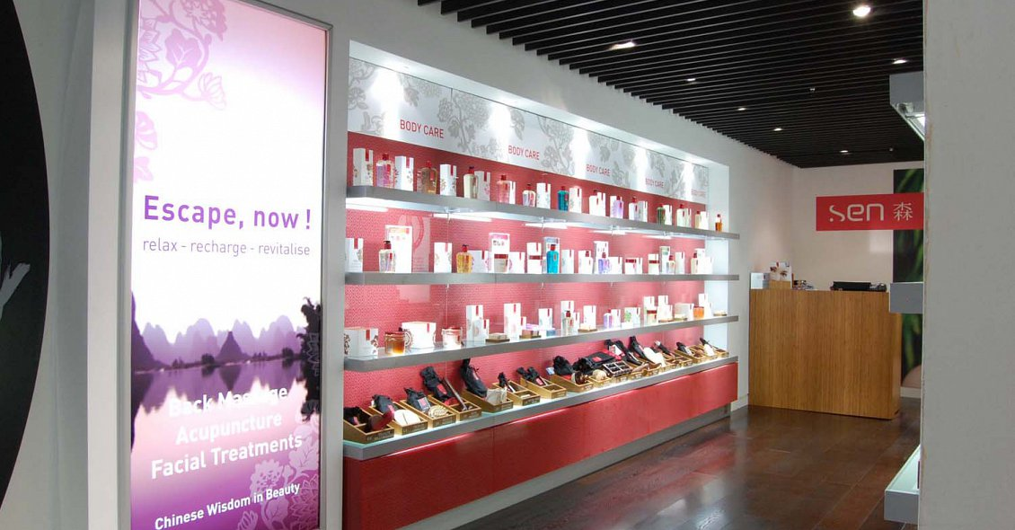 sen cosmetics retail design